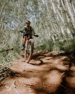 Exercising on mountain bike